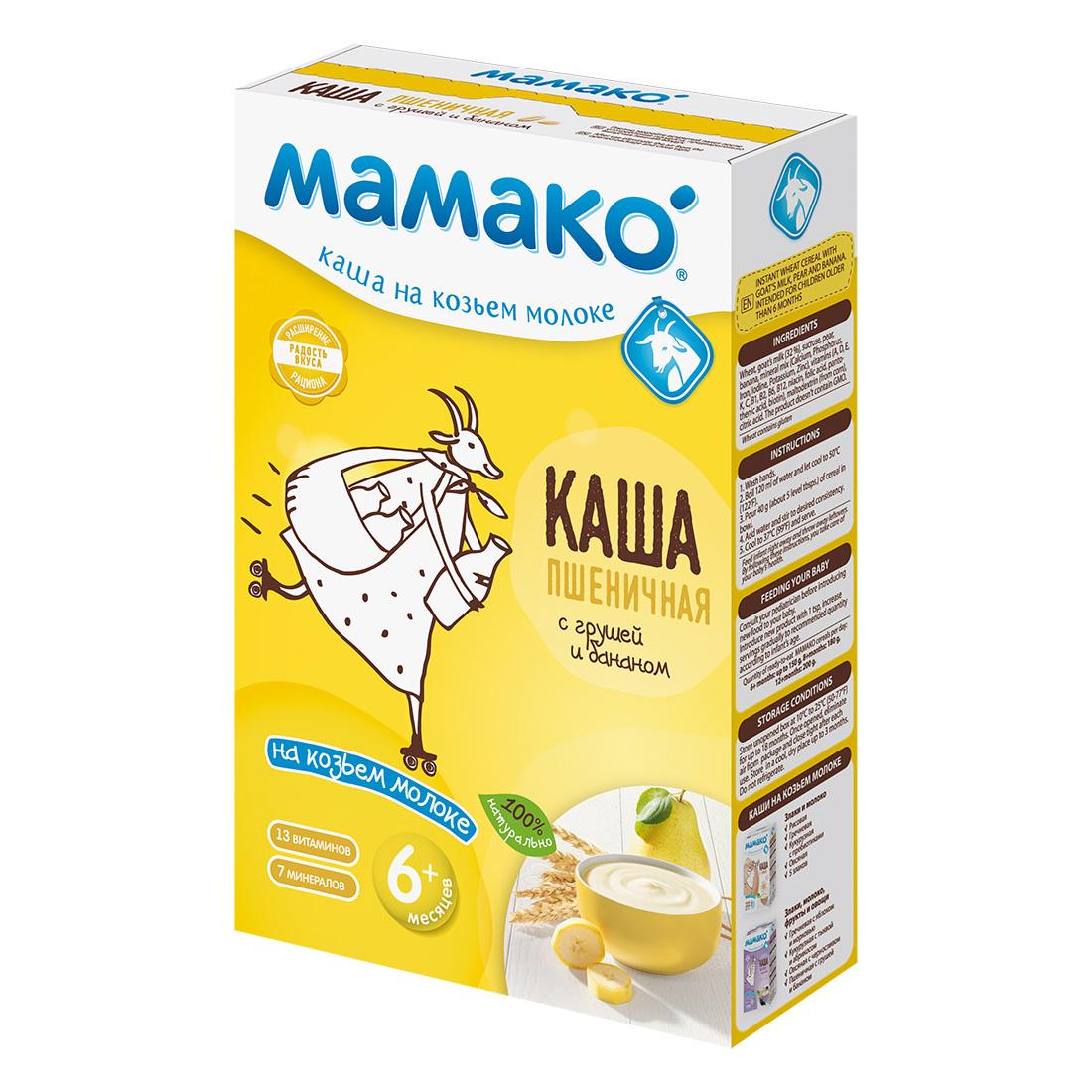Каша Mamako на козьем молоке 200 гр Пшеничная с грушей и бананом (с 6 мес)<br>