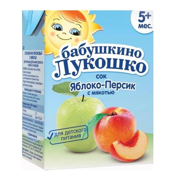 Сок Бабушкино лукошко 200 мл (тетрапак) Яблоко персик (с 5 мес)<br>