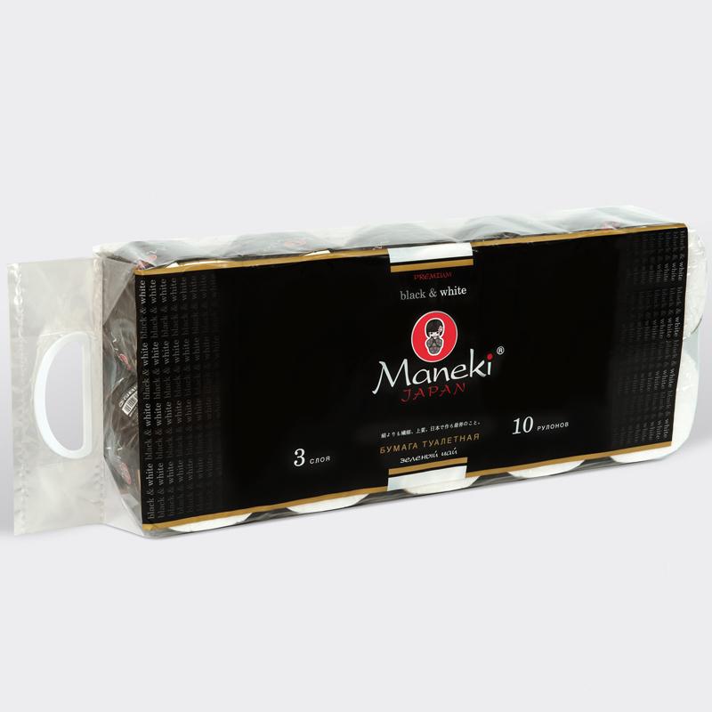 Бумага туалетная Maneki Black&White 3 слоя ЧЕРНАЯ с ароматом зеленого чая (10 рулонов в упаковке) 30 м