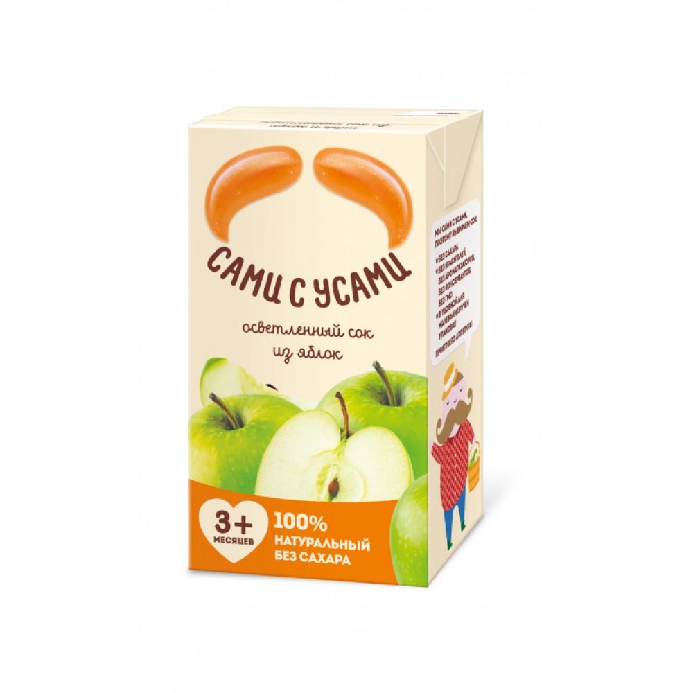 Сок Сами с усами 180 мл (тетрапак) Яблочный осветленный (с 3 мес)<br>