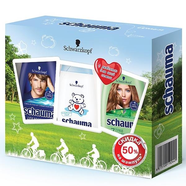 Набор Schauma Шампунь 7 трав 380 мл + шампунь с хмелем 380 мл + шампунь-гель Baby 225 мл<br>