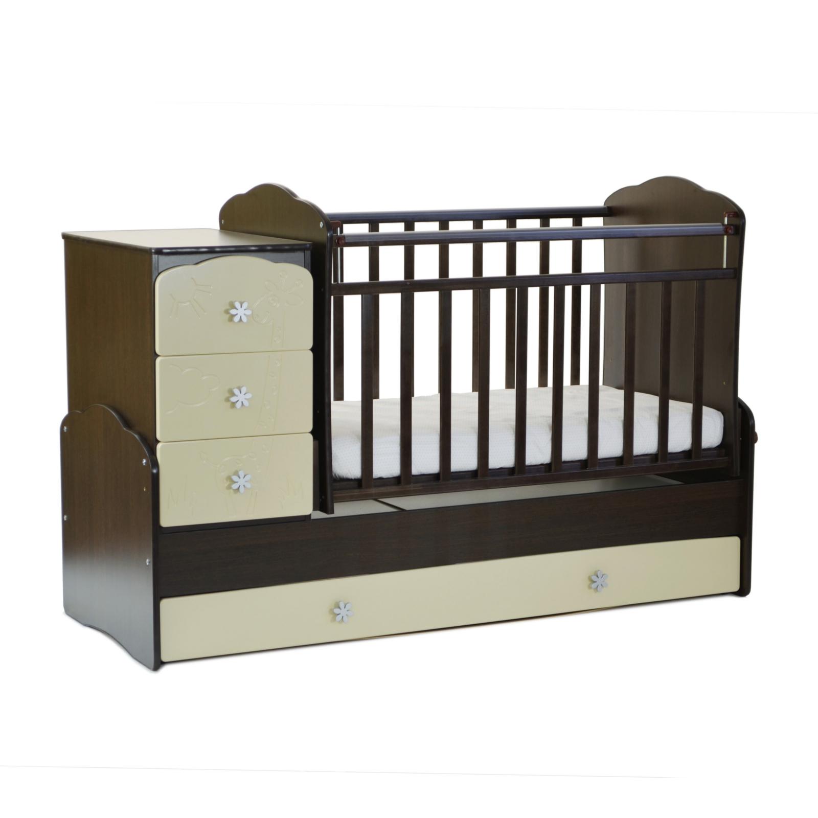 Кроватка-трансформер СКВ компани Жираф 94003 Венге/Бежевая<br>
