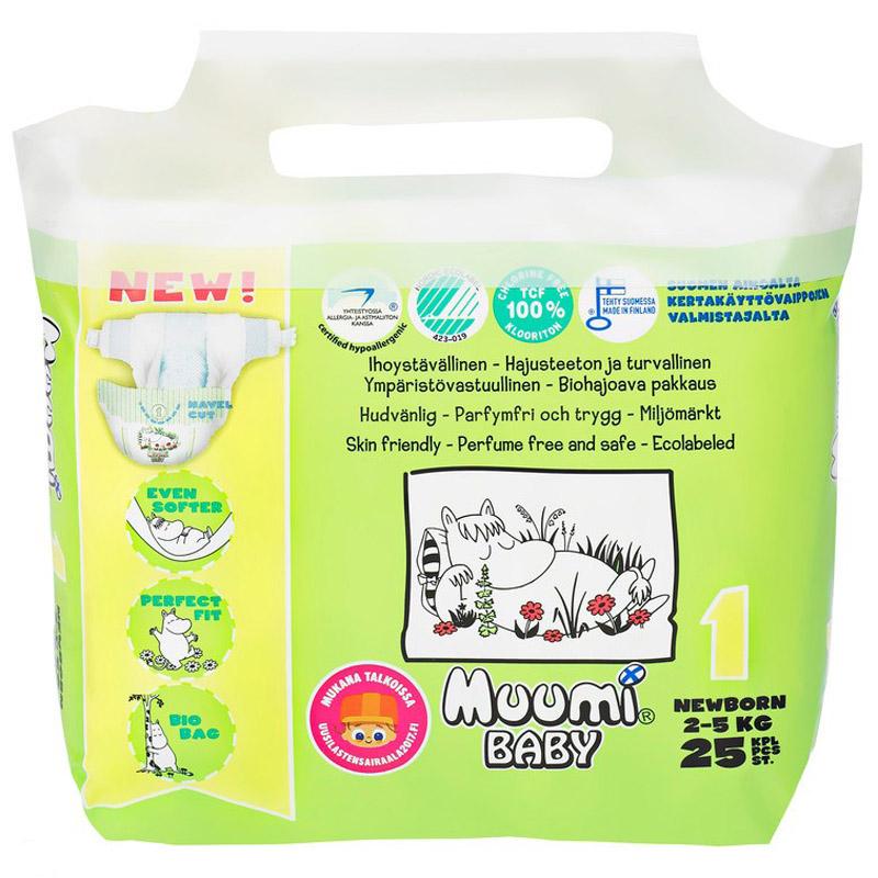 Подгузники Muumi Baby Newborn 2-5 кг (25 шт) Размер 1<br>