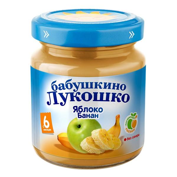 Пюре Бабушкино лукошко фруктовое 100 гр Яблоко с бананом (с 6 мес)<br>