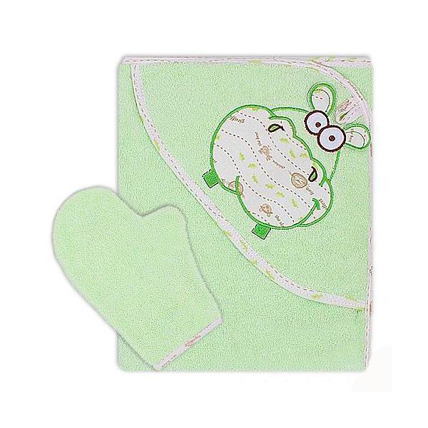Полотенце-уголок Осьминожка Бегемот с вышивкой махровое Салатовое<br>
