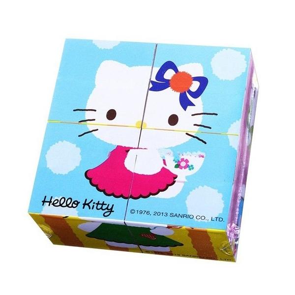 Деревянные кубики Играем вместе Hello Kitty (4 кубика)<br>