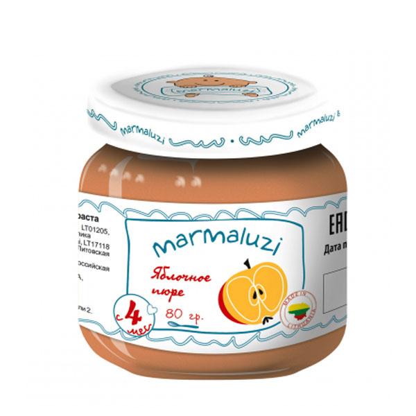 Пюре Marmaluzi фруктовое 80 гр Яблоко (с 4 мес)<br>