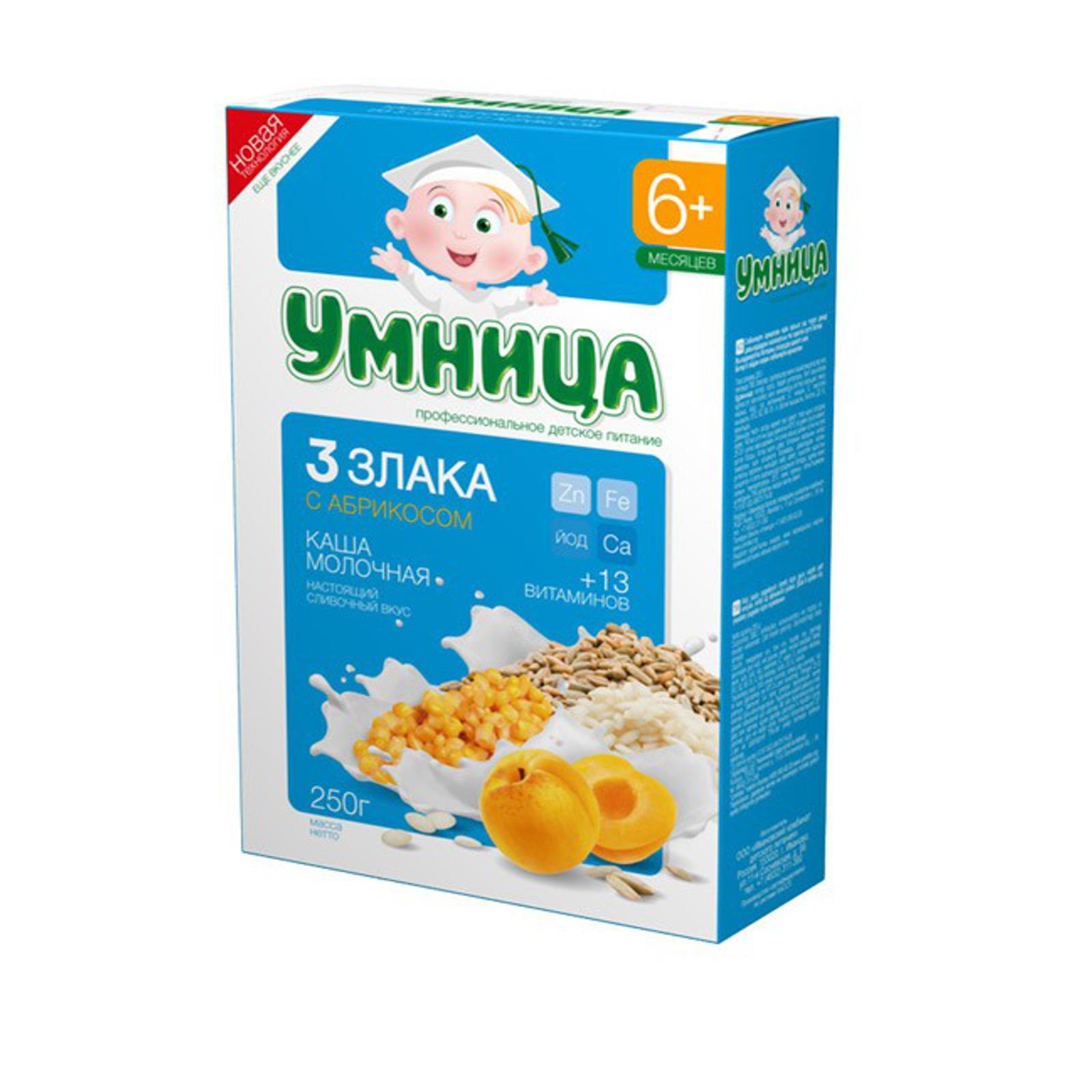 Каша Сами с усами молочная 200 гр 3 злака с абрикосом (с 6 мес)<br>