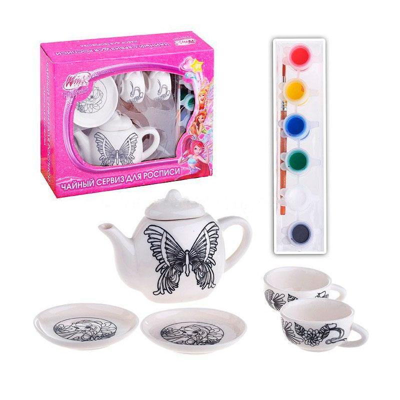 Набор посуды для росписи Multiart Winx 5 предметов Краски и кисточка в комплекте<br>