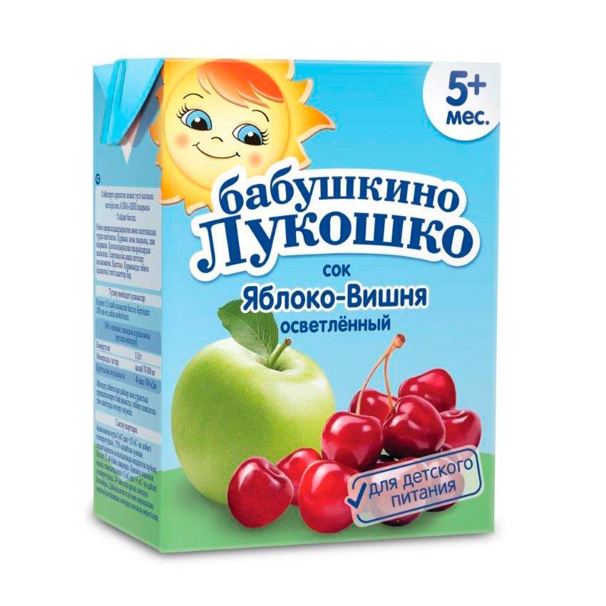 Сок Бабушкино лукошко 200 мл (тетрапак) Яблоко вишня (с 5 мес)<br>