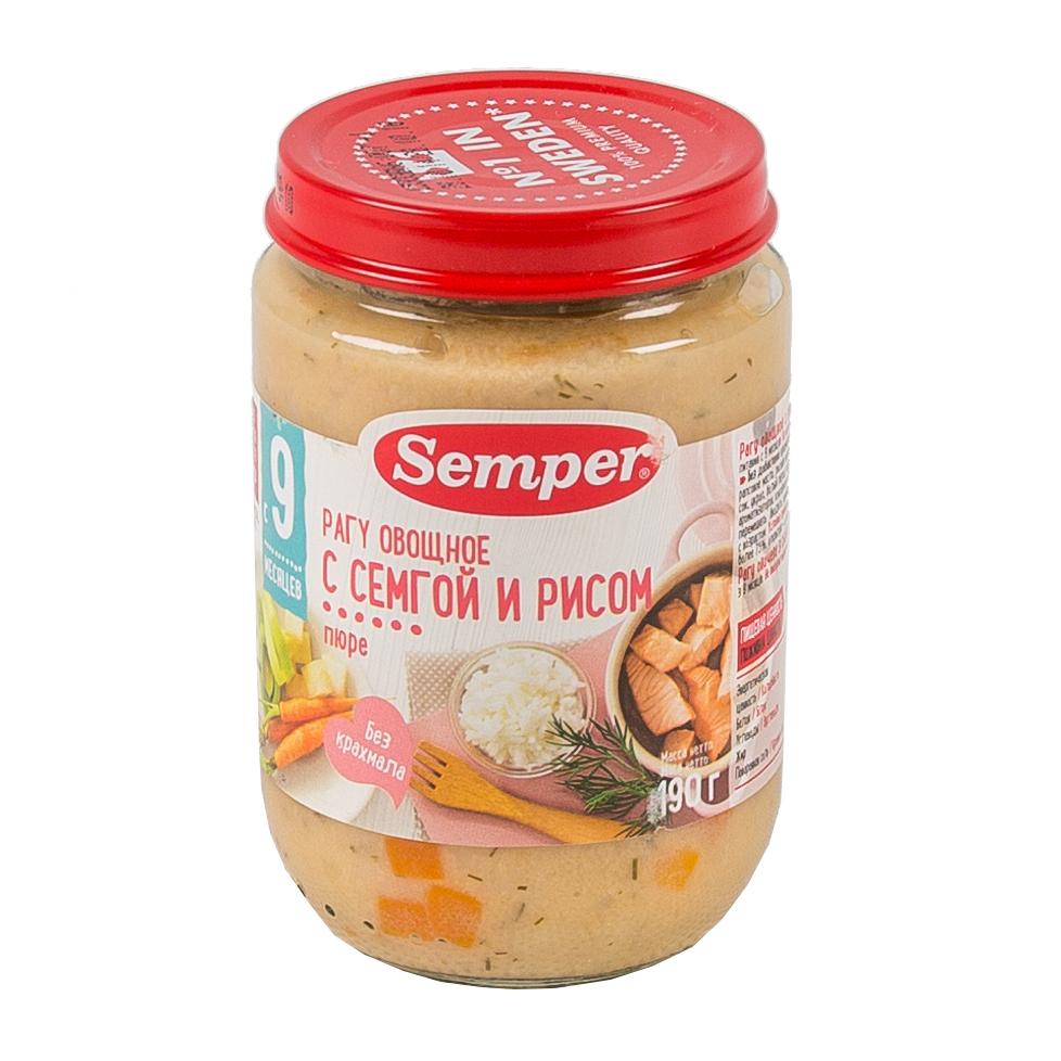 Пюре Semper рыбное с овощами 190 гр Семга с рисом (с 9 мес)<br>
