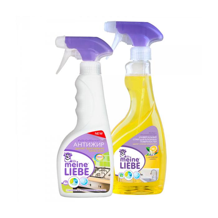 Набор Meine Liebe для уборки помещения спрей для кухонных поверхностей 500 мл + антижир 500 мл<br>