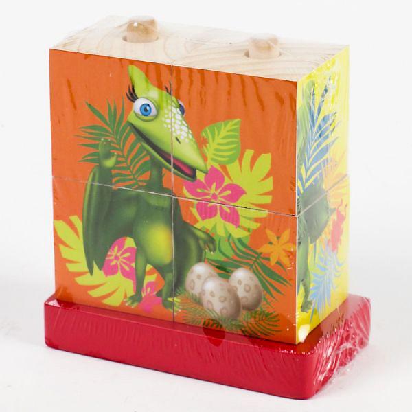 Деревянные кубики-пирамидки Играем вместе Поезд Динозавров (4 кубика)<br>