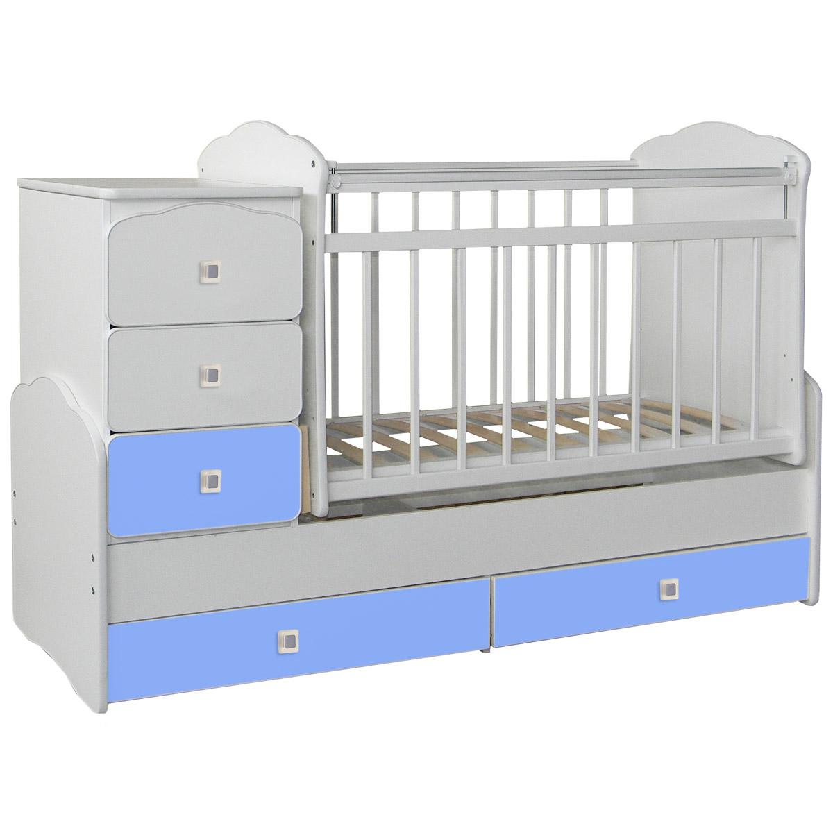 Кроватка-трансформер СКВ компани 93003 Белый и Голубой 930032-1<br>