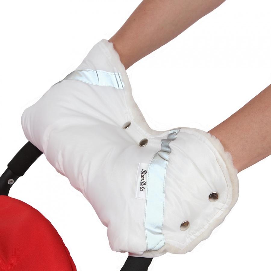 Муфта Bambola для коляски шерстяной мех плащевка кнопки Белый<br>