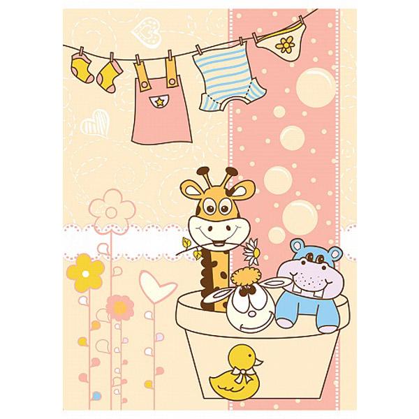 Одеяло Baby Nice байковое 100% хлопок 85х115 Купание Розовый<br>