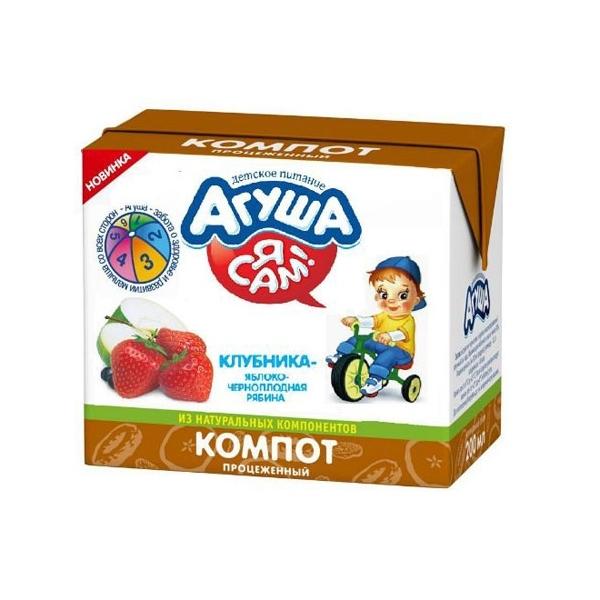 Компот Агуша 200 мл (тетрапак) Клубника яблоко черноплодная рябина (с 8 мес)