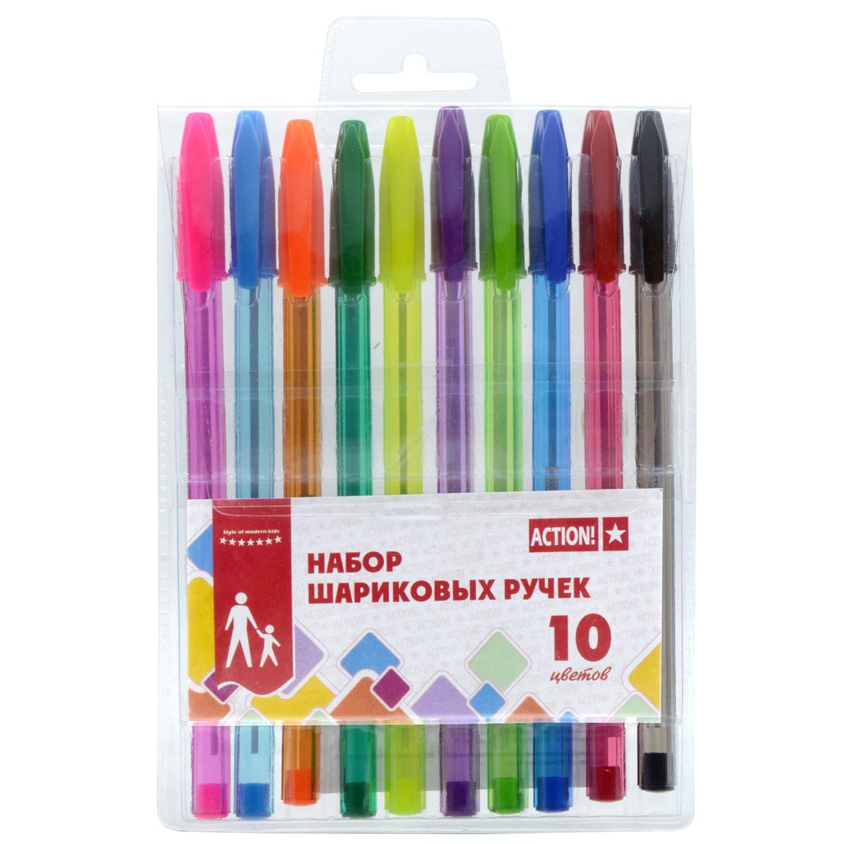 Набор разноцветных шариковых ручек ACTION! 10 цветов<br>