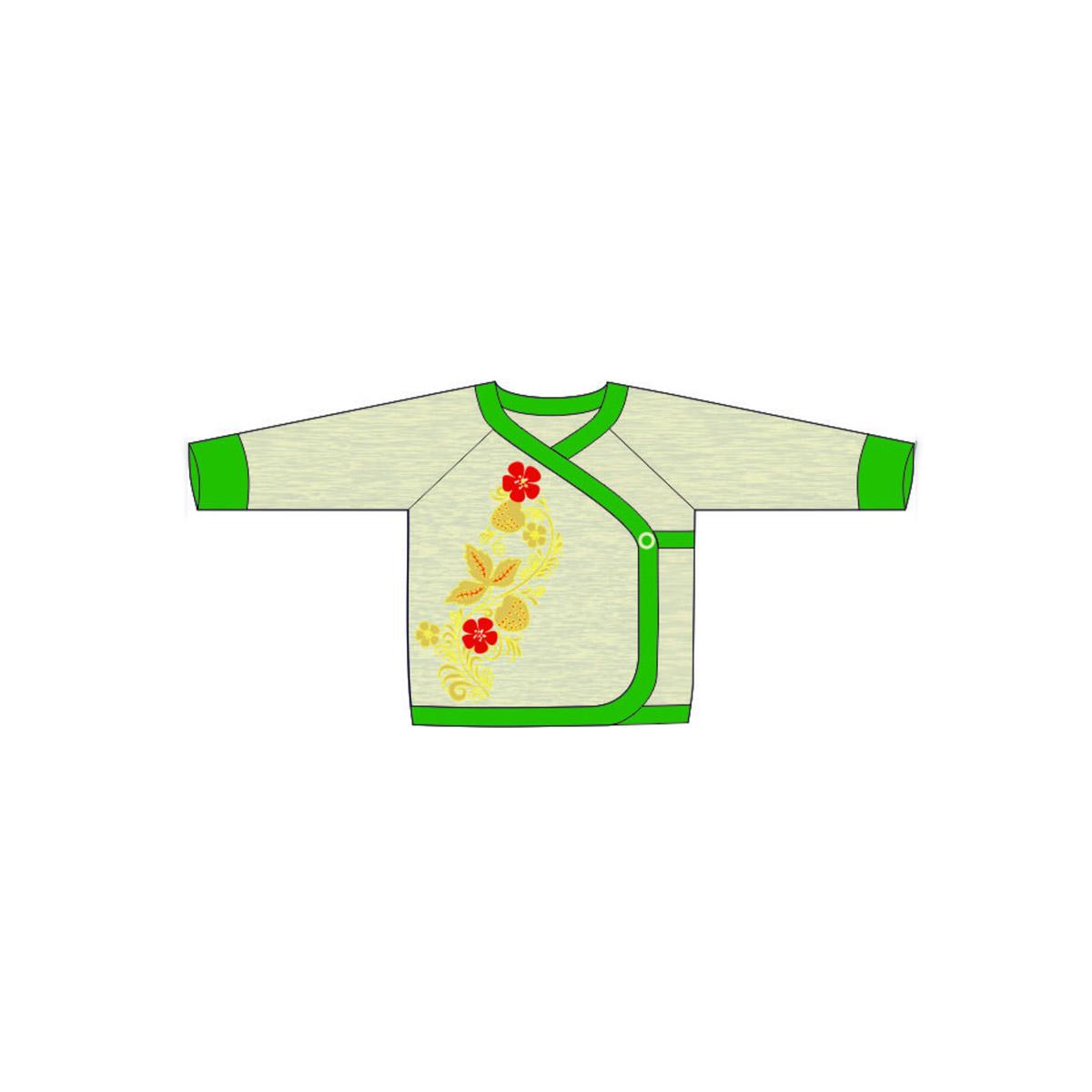 Кофточка Ёмаё Хохлома (25-219) рост 74 светло серый меланж с зеленым<br>