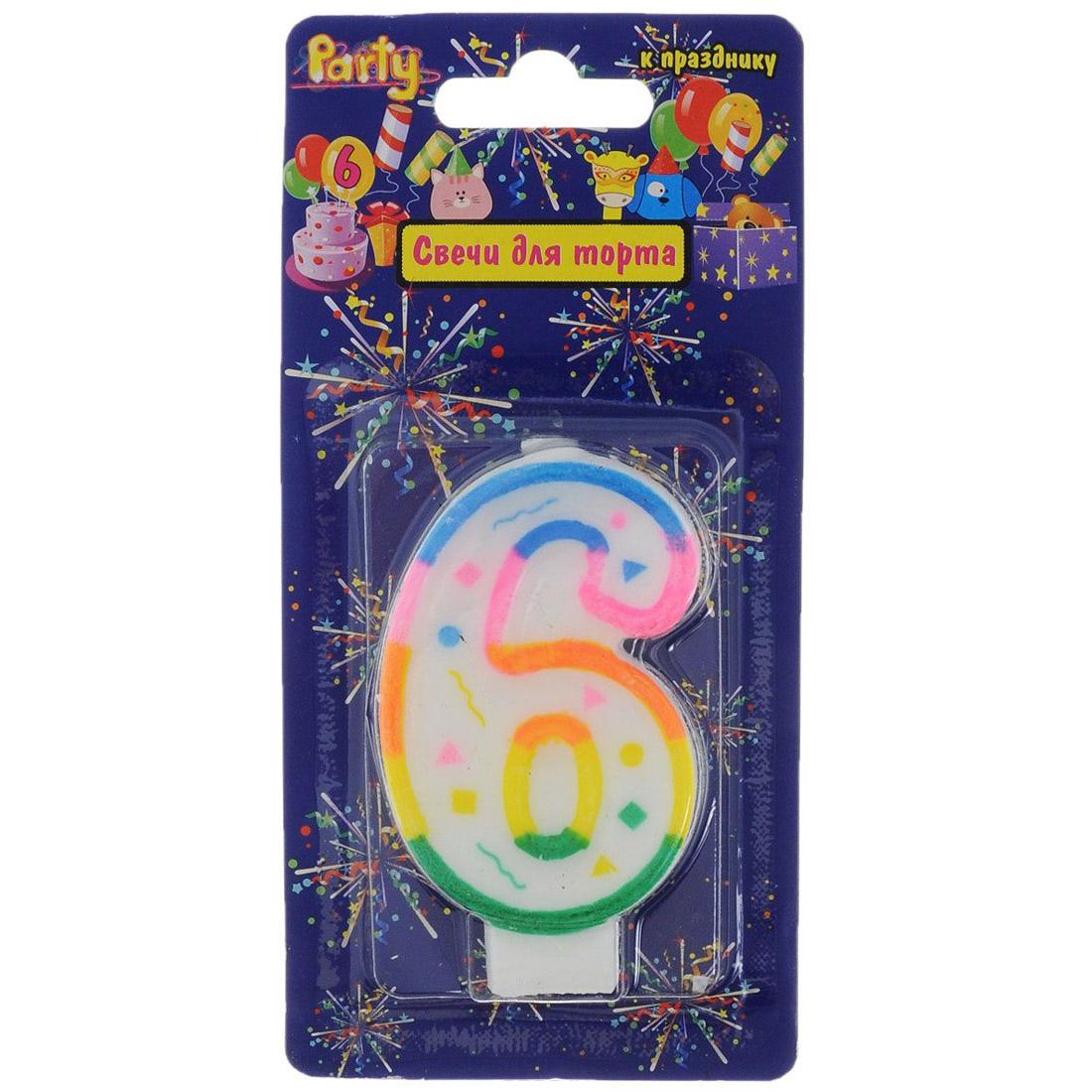 Свеча-Цифра ACTION!  для торта 6 разноцветная 7см<br>