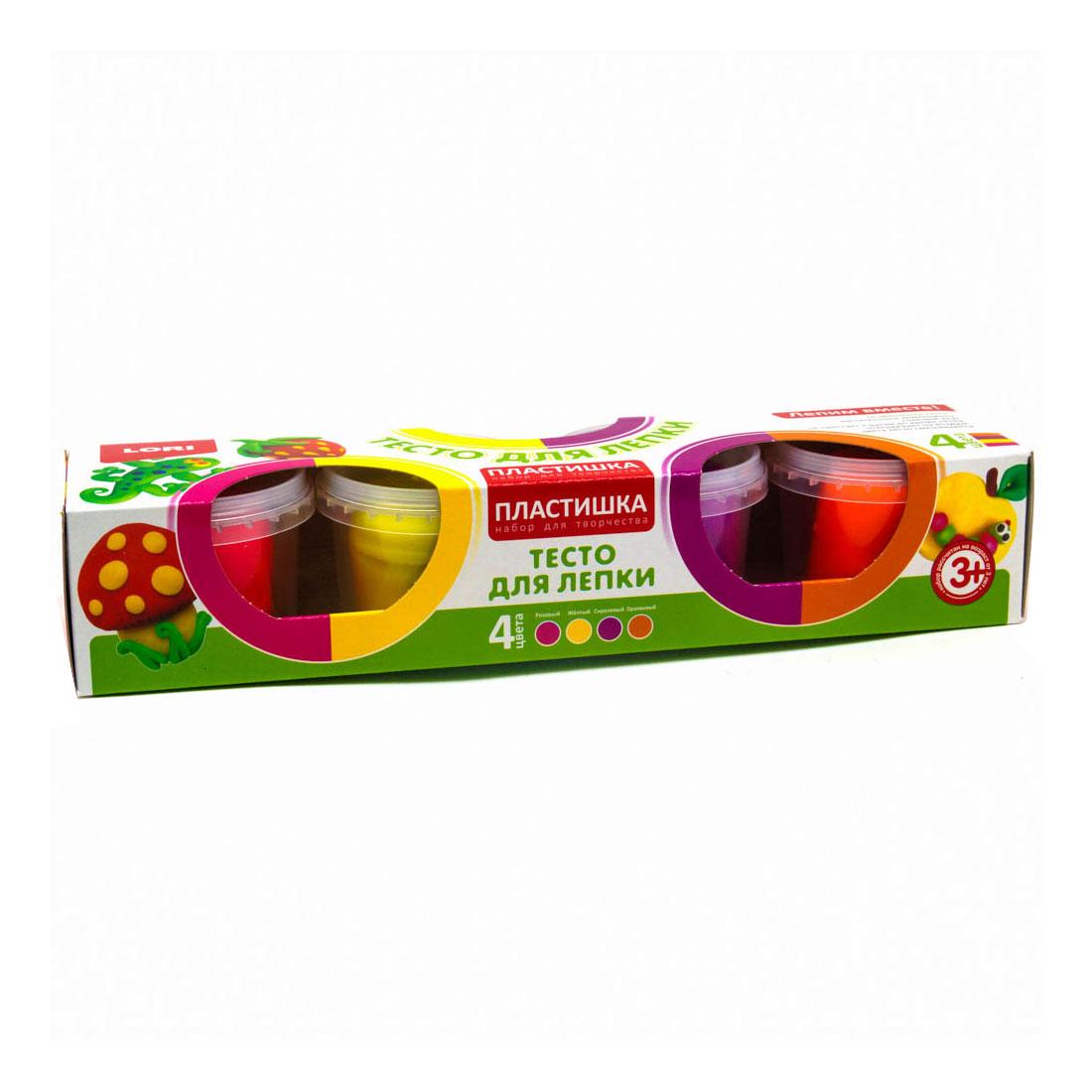 Тесто для моделирования затвердевающее LORI Пластишка 4 цвета х 80 гр Набор № 11<br>