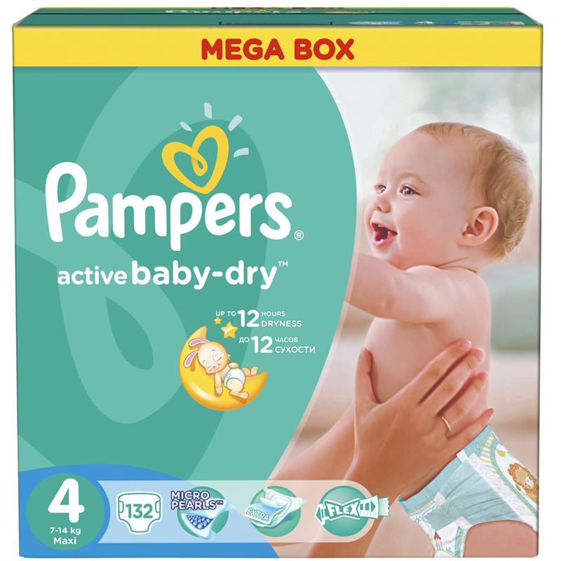 Подгузники Pampers Active Baby Maxi 7-14 кг (132 шт) Размер 4<br>