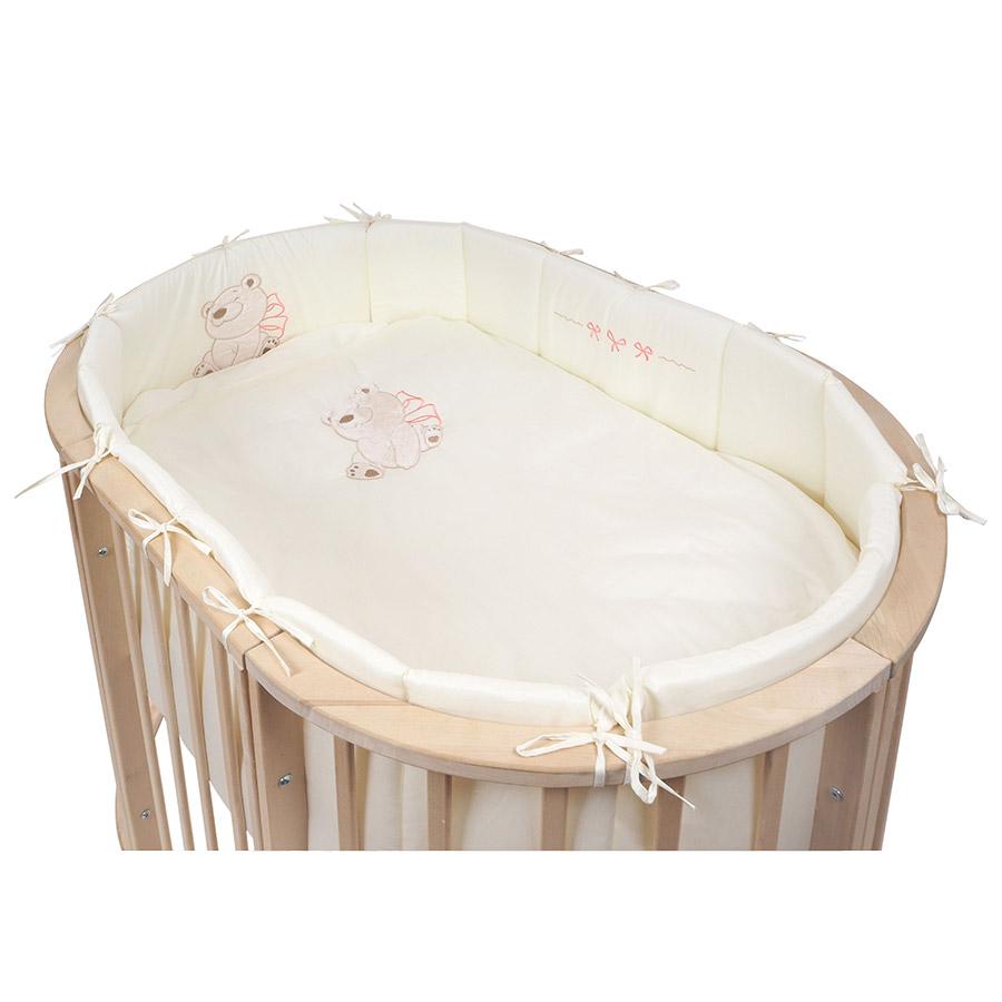 Комплект для овальной кровати Pituso 6 предметов Бантик Бежевый<br>