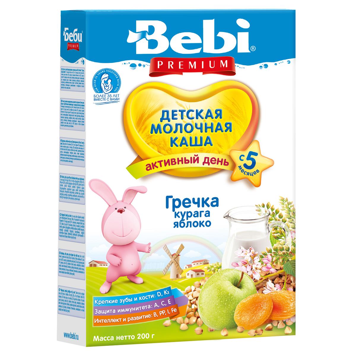 Каша Bebi Premium молочная 200 гр Гречневая с курагой и яблоком (с 5 мес)<br>