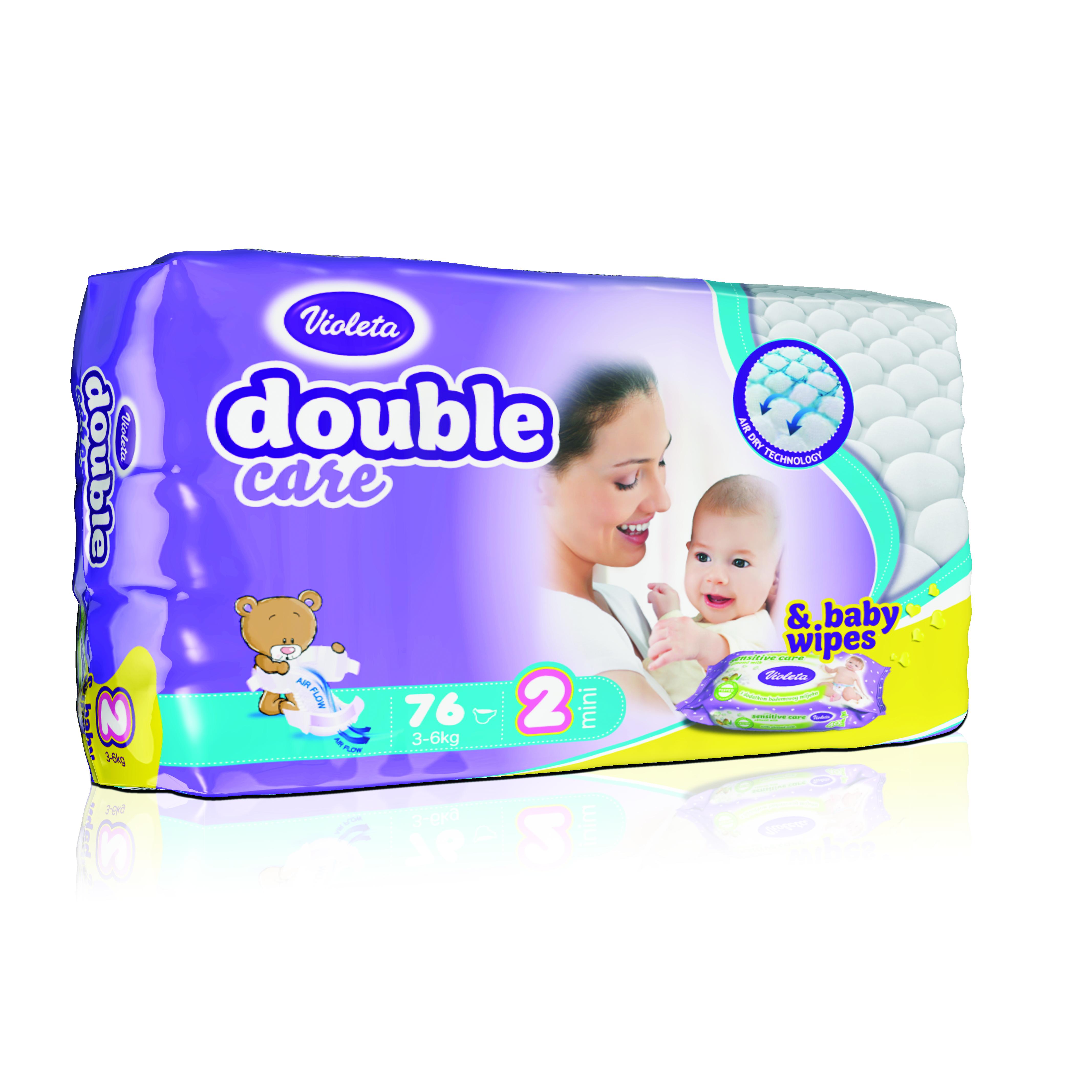 Подгузники VIOLETA Double Care 76 штук (размер 2 MINI 3-6 кг) + подарок - Влажные салфетки<br>