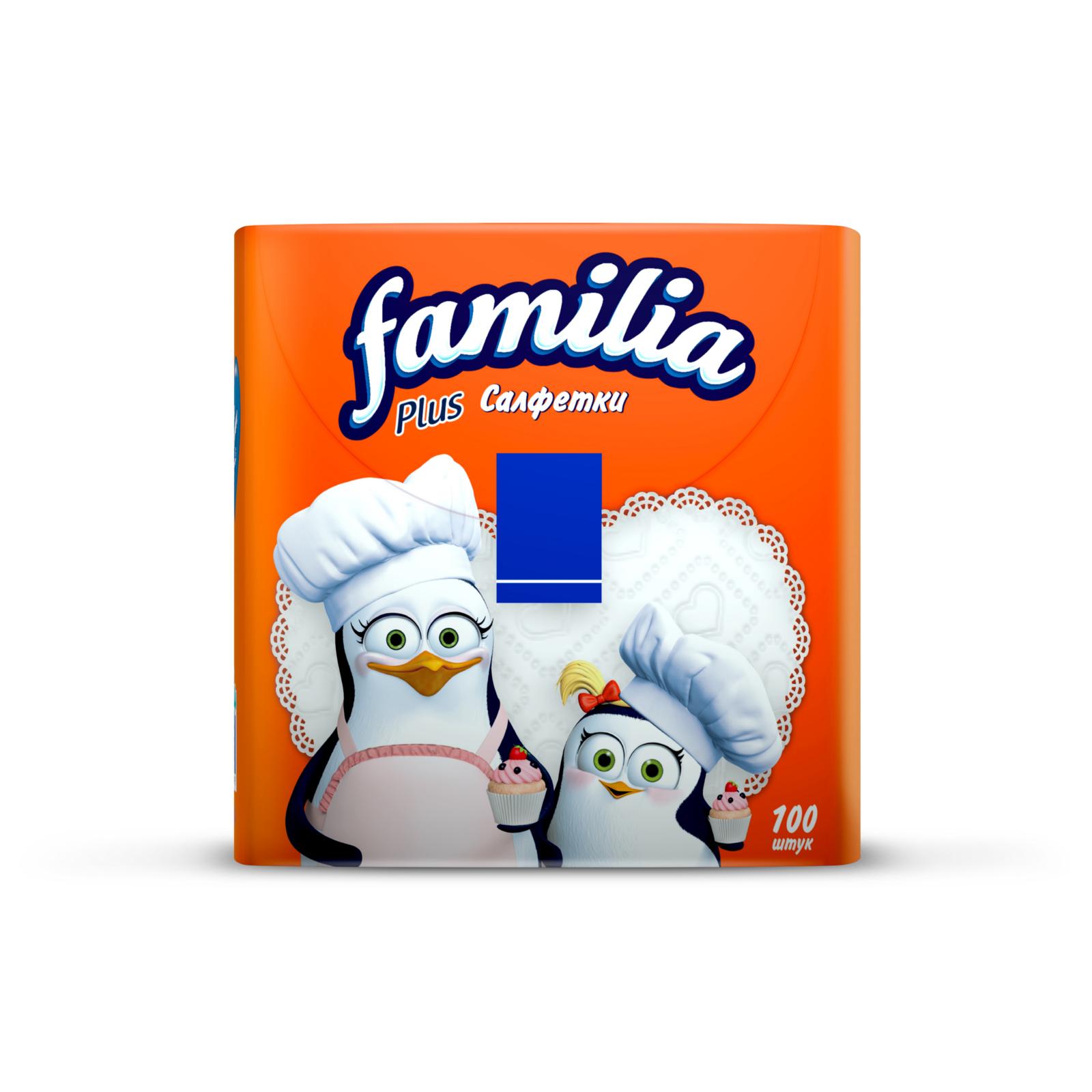 Салфетки Familia Plus 100 шт., белые  30х30 см<br>
