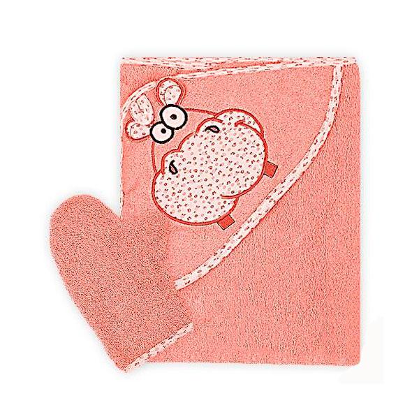 Полотенце-уголок Осьминожка Бегемот с вышивкой махровое Оранжевое<br>