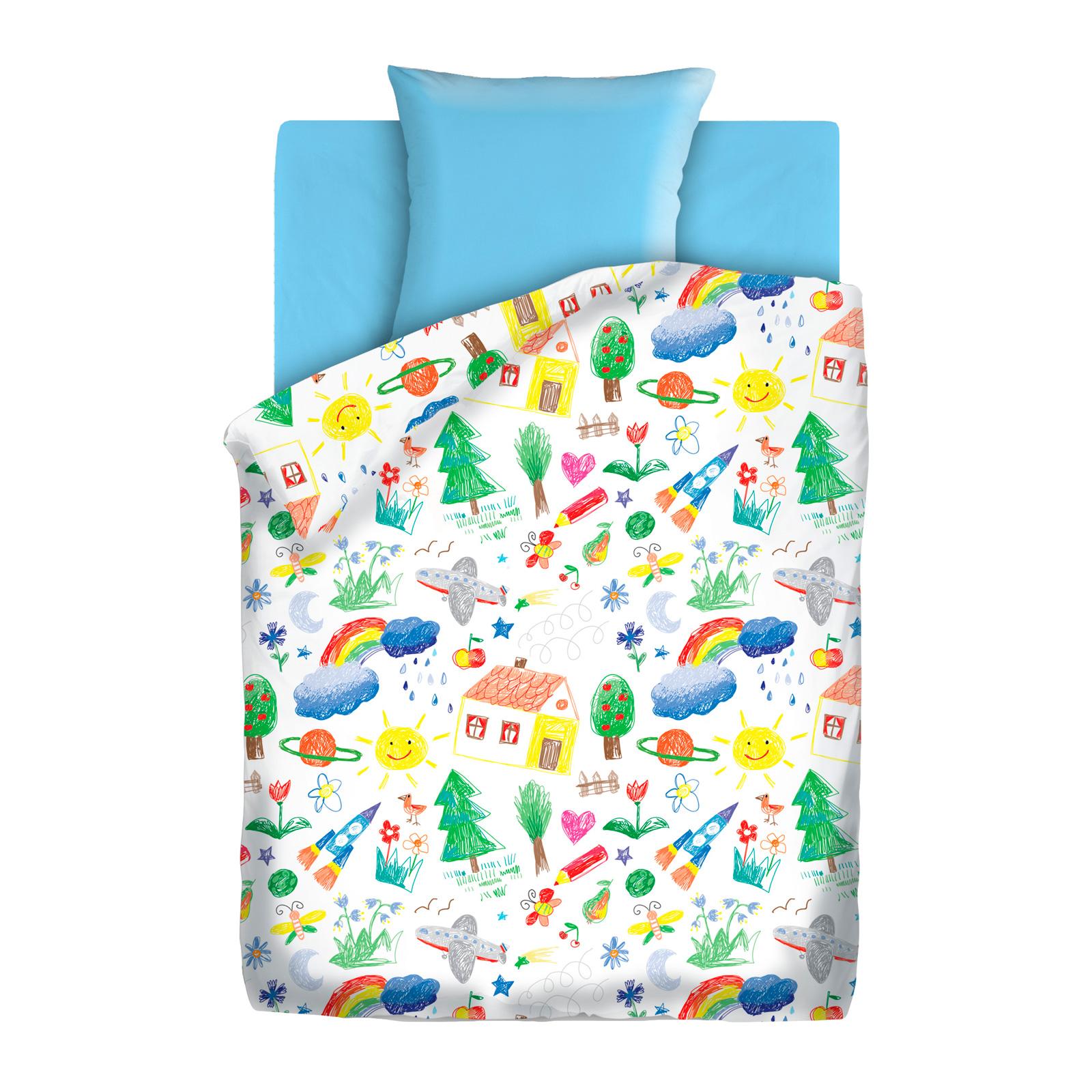 Комплект постельного белья детский 1.5 бязь Непоседа Н/У КПН-10 с наволочкой 70х70 Голубой Радуга<br>