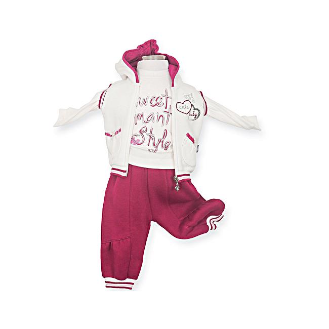 Комплект одежды Estella для девочки, брюки, толстовка, кофта, цвет - Вишневый Размер 80