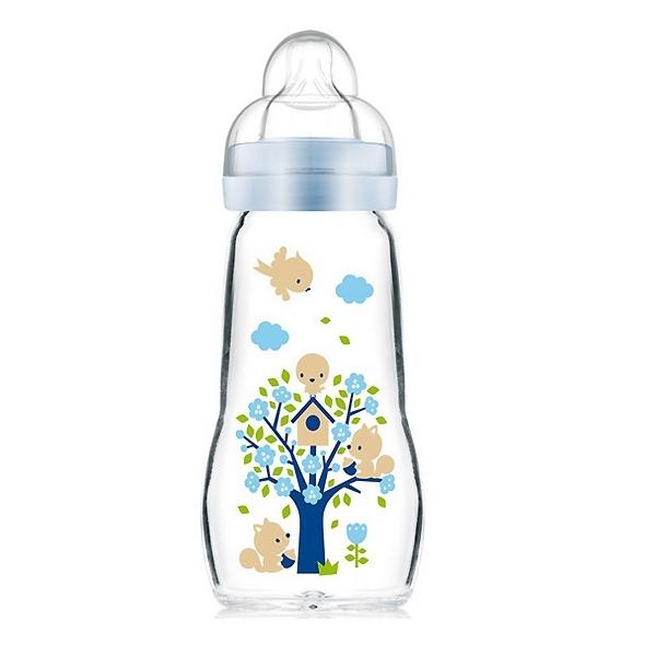 Бутылочка MAM Feel Good Bottle Стеклянная 260 мл (с 0 мес) голубая<br>