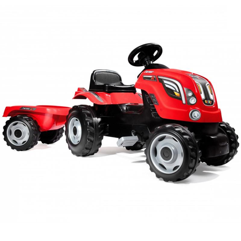 Трактор педальный Smoby XL с прицепом Красный 142х44х54.5 см<br>