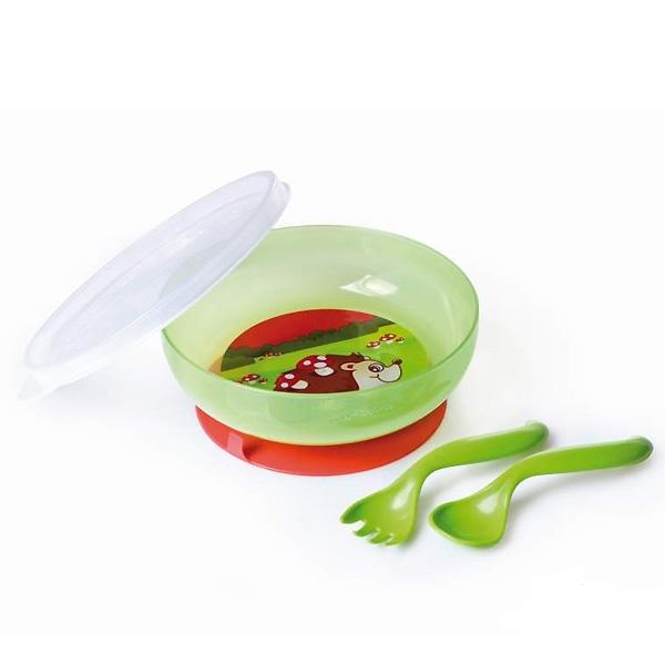 Набор для кормления Canpol Babies Миска ложка вилка зеленая (с 9 мес)<br>