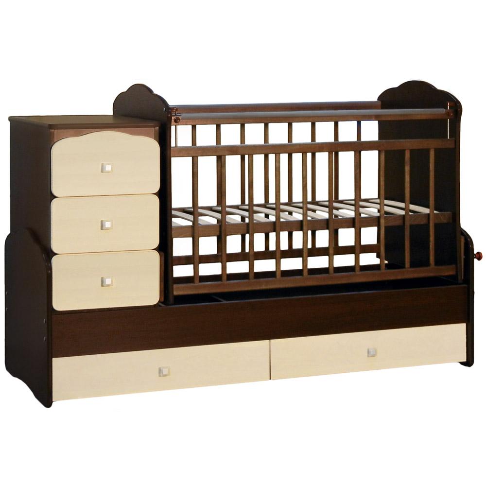 Кроватка-трансформер СКВ компани 93003 Венге фасады береза<br>