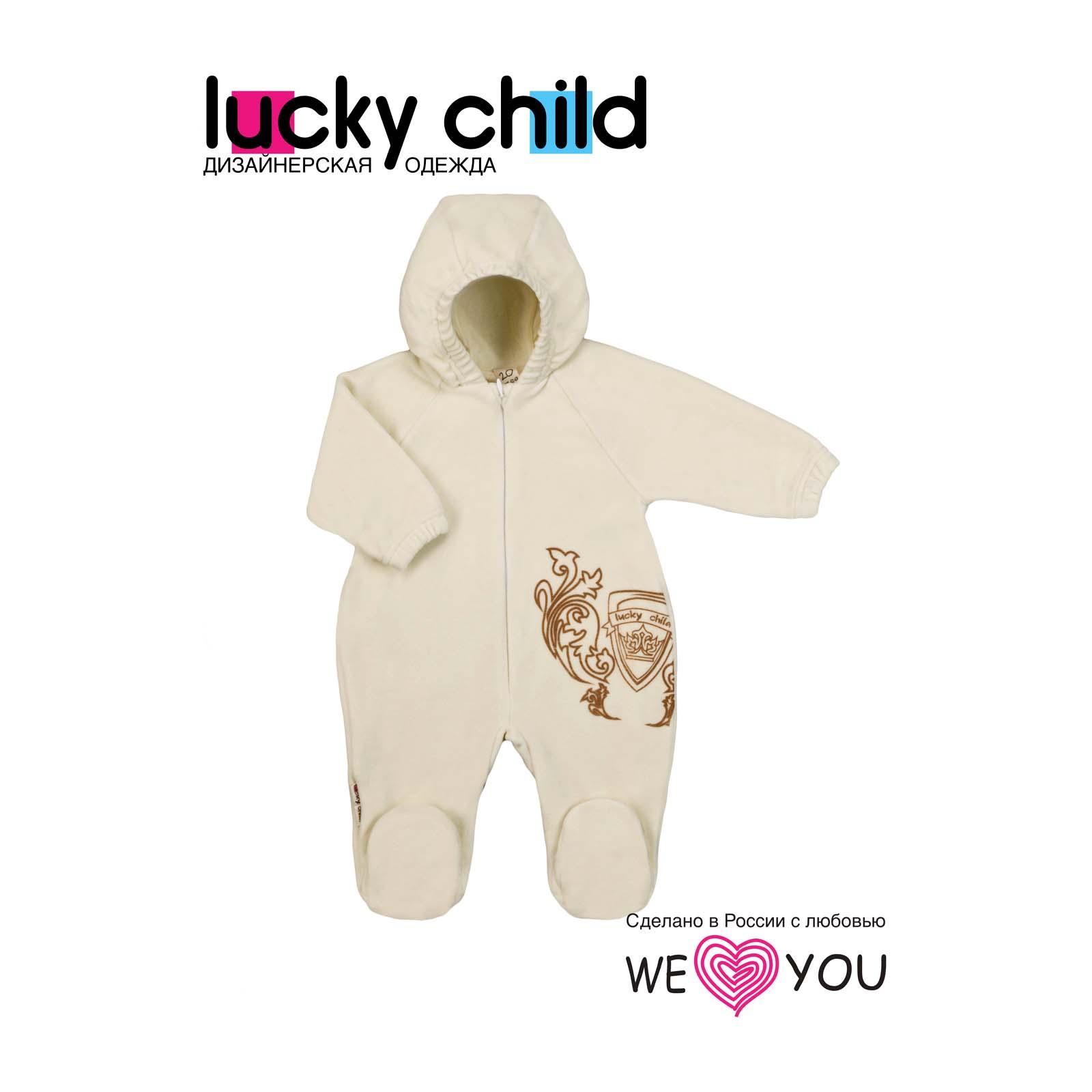 Комбинезон из велюра Lucky Child на подкладке цвет экрю размер 74<br>