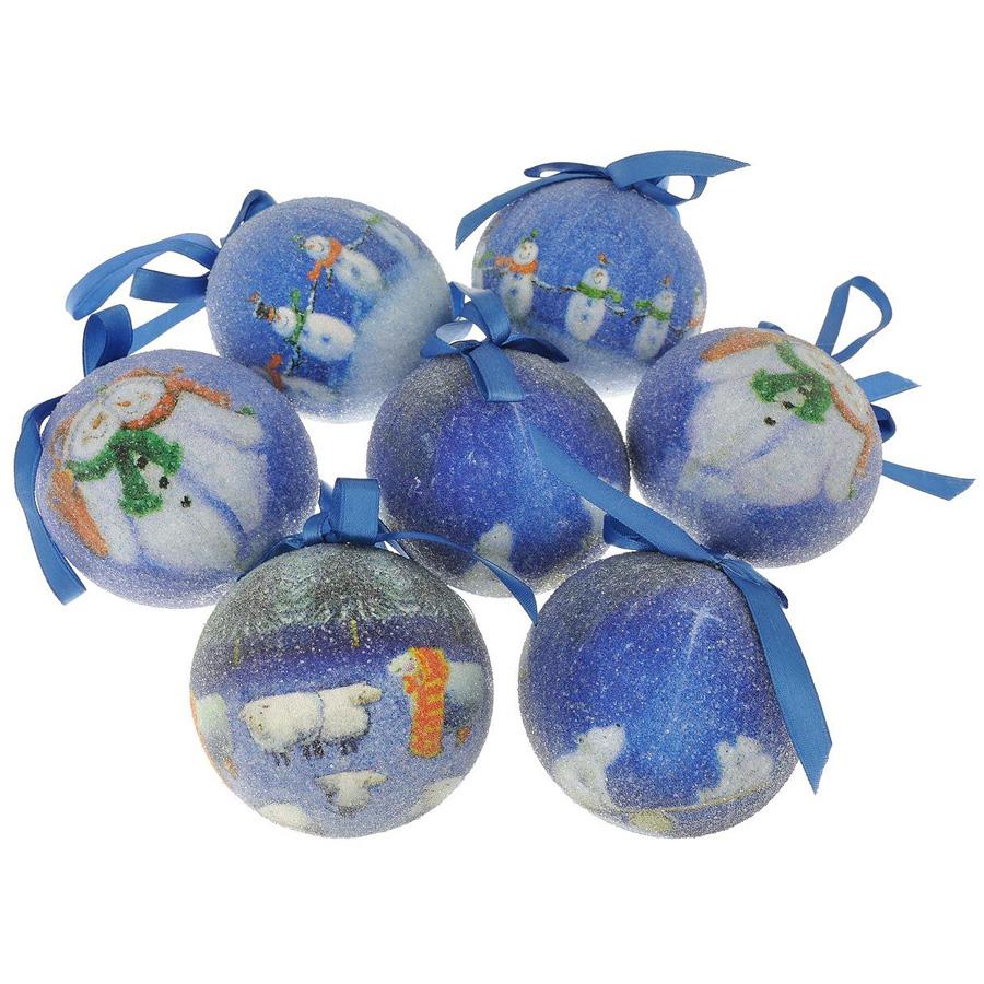 Набор шаров Winter Wings фрости Снеговики 7.5 см 12 штук в подарочной коробке<br>
