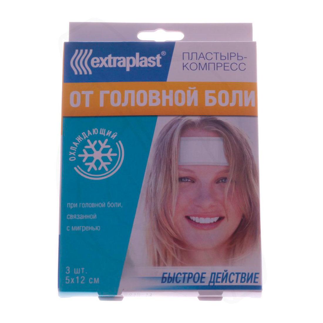 Пластырь Extraplast От головной боли 3 шт 5х12 см