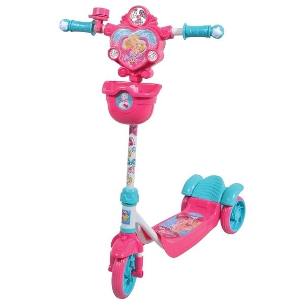Самокат 1toy трехколесный Barbie с корзинкой