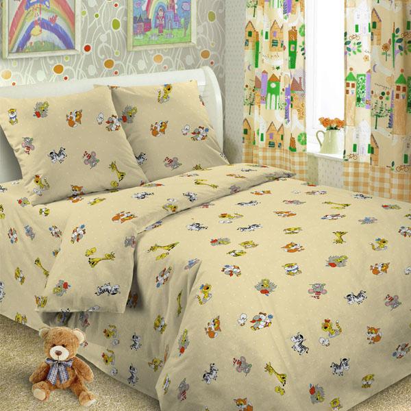 Комплект постельного белья детский Letto в кроватку с простыней на резинке BGR-35 Бежевый<br>
