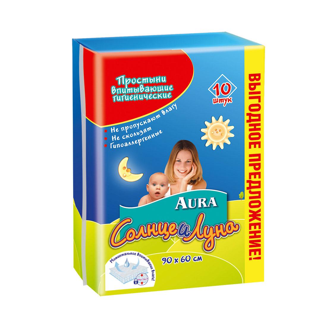 Пеленки AURA Солнце и луна гигиенические 60х90 см (10 шт)<br>