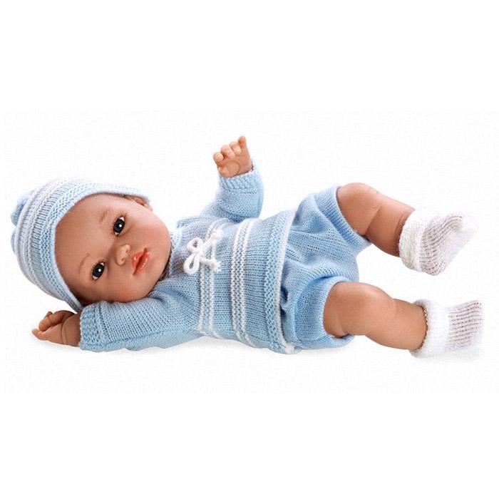 Кукла Arias 33 см Пупс блондинка в голубом вязаном костюмчике и шапочке<br>