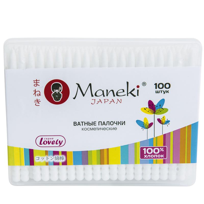 Ватные палочки Maneki Lovely (в коробке) белые 100 шт<br>