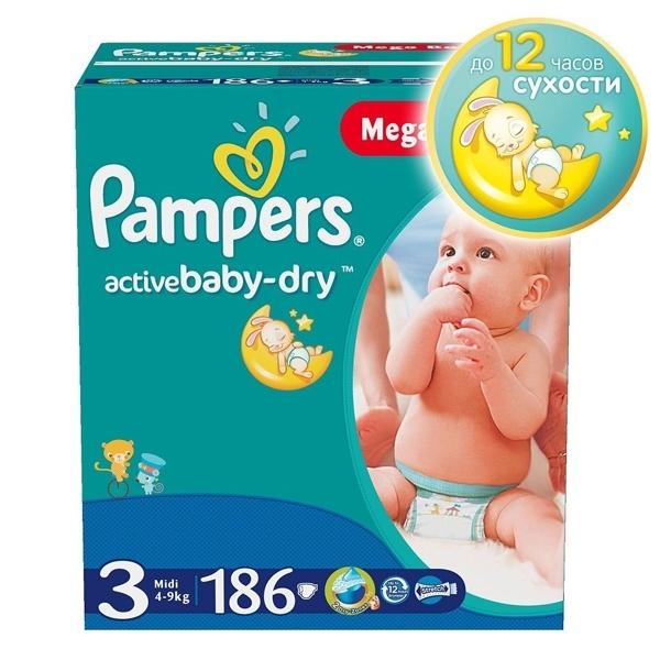 Подгузники Pampers Active Baby Midi 4-9 кг (186 шт) Размер 3<br>
