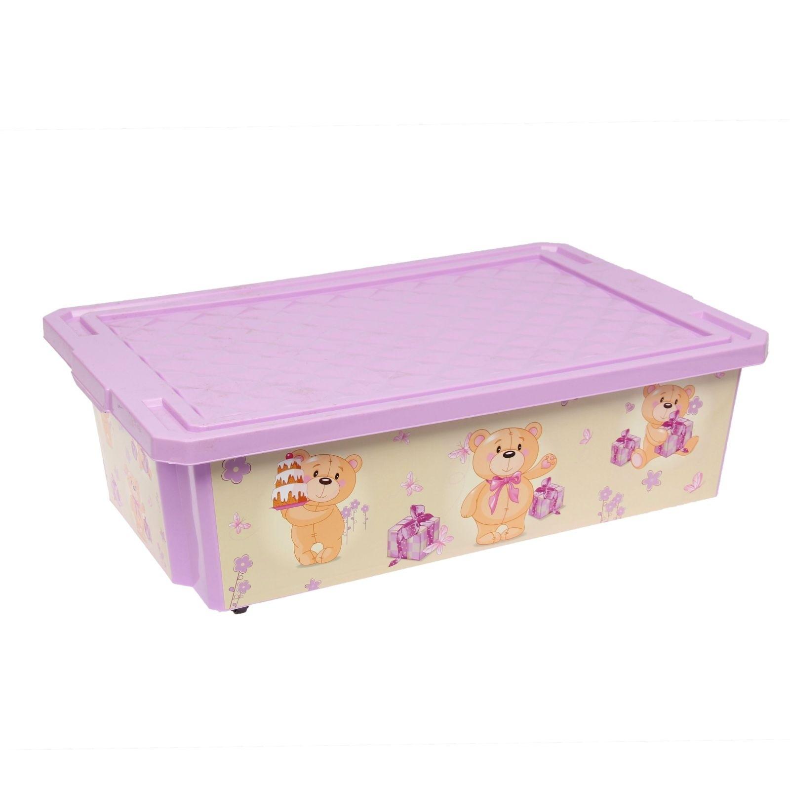 Ящик для хранения игрушек Little Angel X-Box Bears 30л на колесах Бежевый с розовым<br>