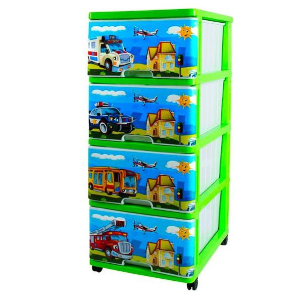 Комод для игрушек Dunya Декор Машинки Зеленый<br>