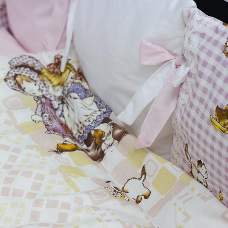 Комплект в кроватку ByTwinz с бортиками-подушками 6 предметов Амми<br>