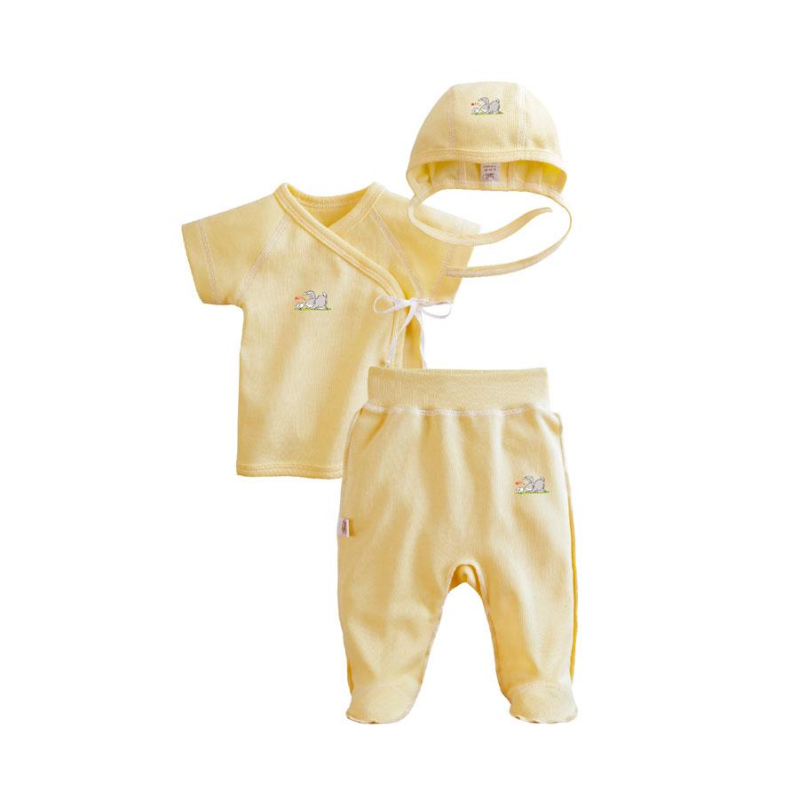 Комплект Наша Мама Be happy №1 (чепчик, распашонка, ползунки на мягком поясе) рост 56 желтый<br>